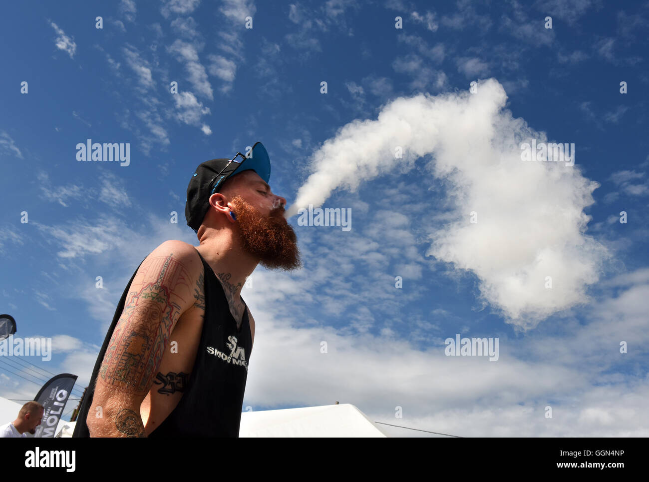 Vapefest the festival for Vaping enthusiasts at Shrewsbury Uk August 6th 2016. The 'Battle of the Clouds' - Stock Image