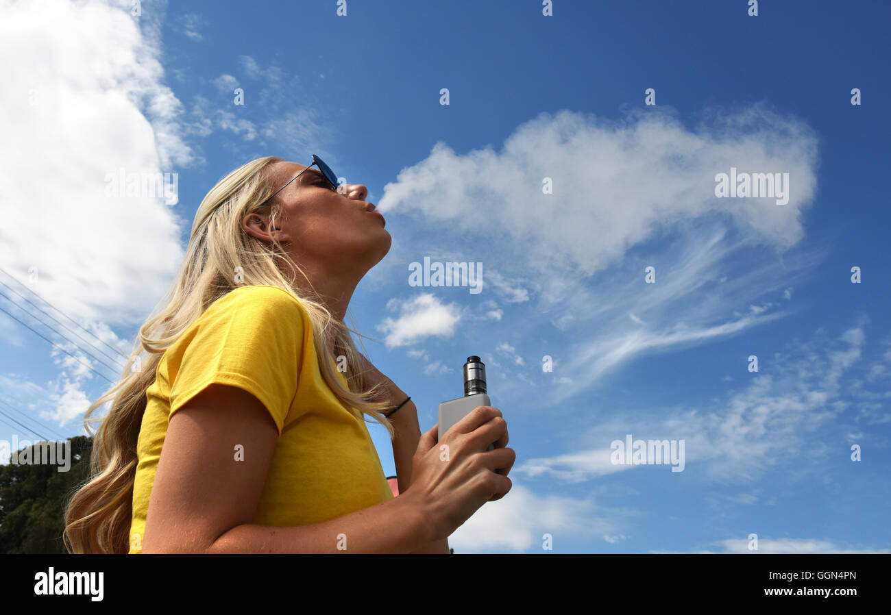 Vapefest the festival for Vaping enthusiasts at Shrewsbury Uk August 6th 2016. Amber Gregory of Solihull, Birmingham - Stock Image