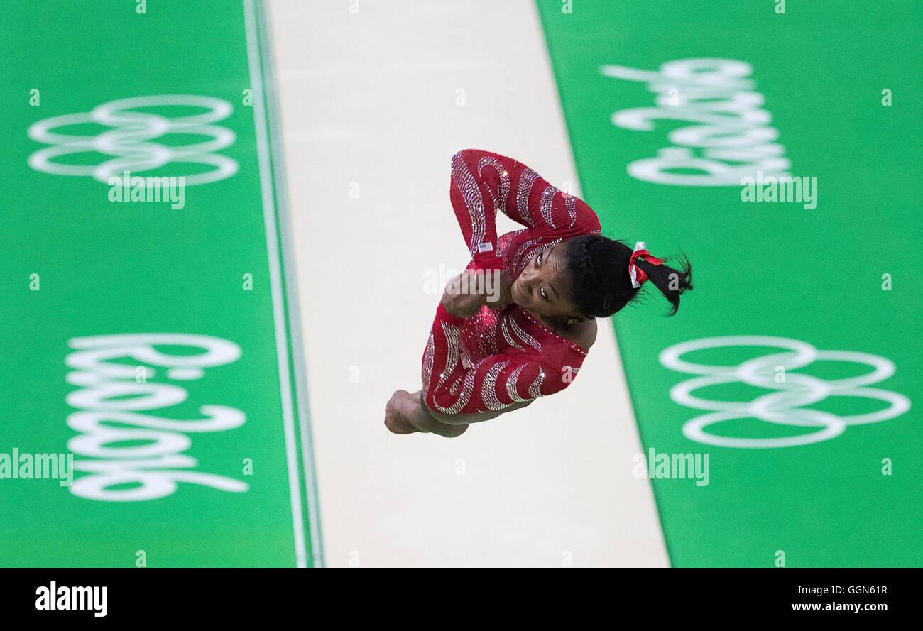 Rio de Janeiro, RJ, Brazil. 4th Aug, 2016. TEAM USA: Women's Gymnastics, Simone Biles (USA) practice her vault - Stock Image