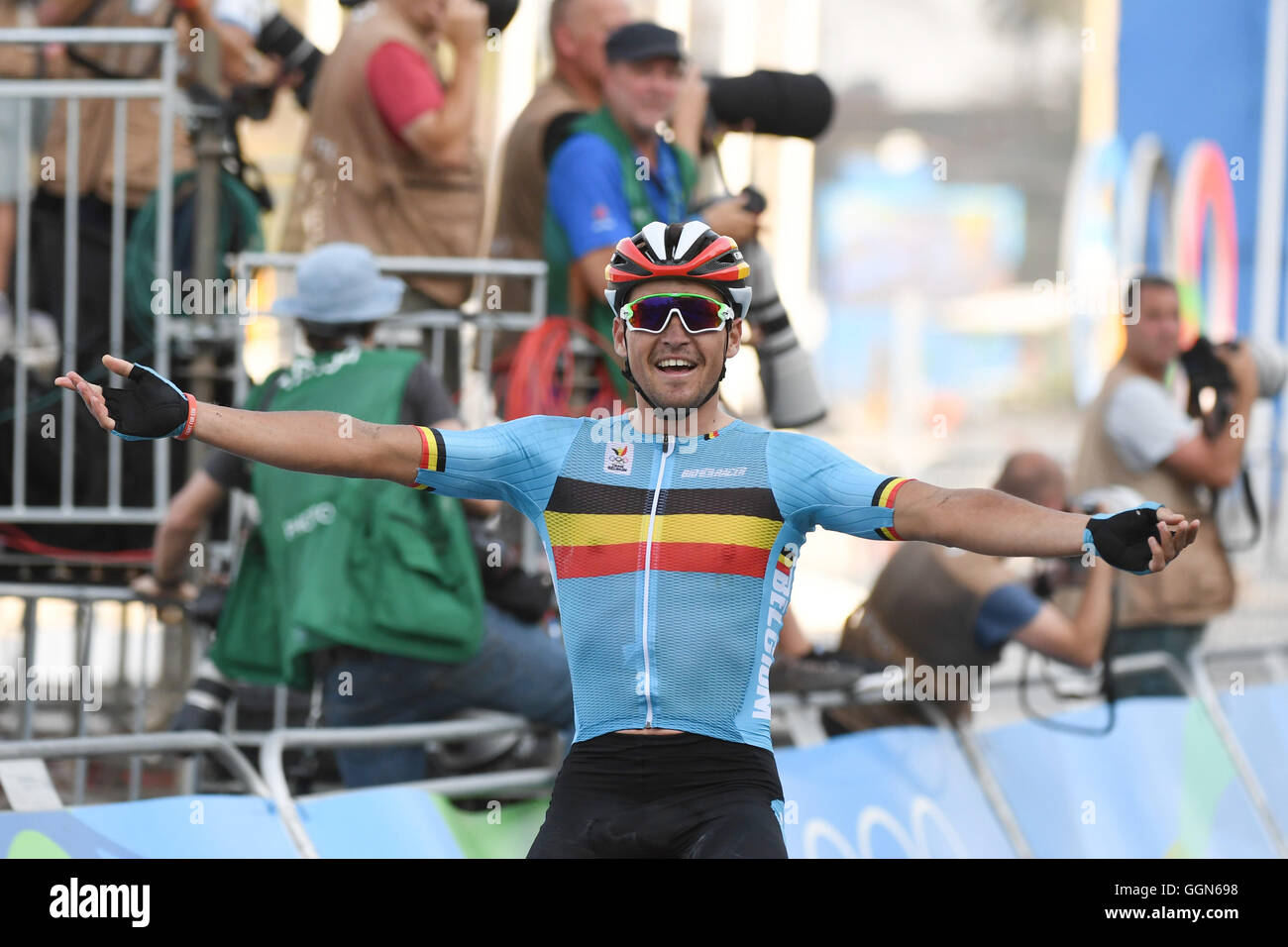 Greg van Avermaet of Belgium celebrates after winning the Gold Medal in the  Men s Road Race of the Cycling Road event during the Rio 2016 ... f5a02d557