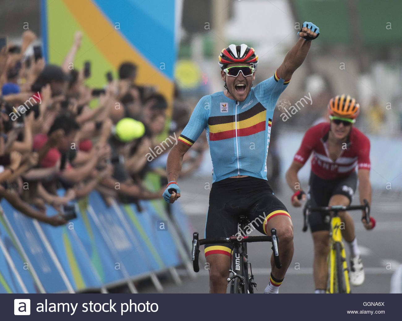 24865b697 GREG VAN AVERMAET of Belgium celebrates as he crosses the finish line to win  the gold medal