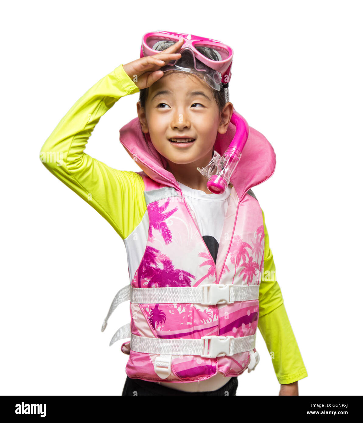 Asian girl wearing a life vest and snorkel set - Stock Image