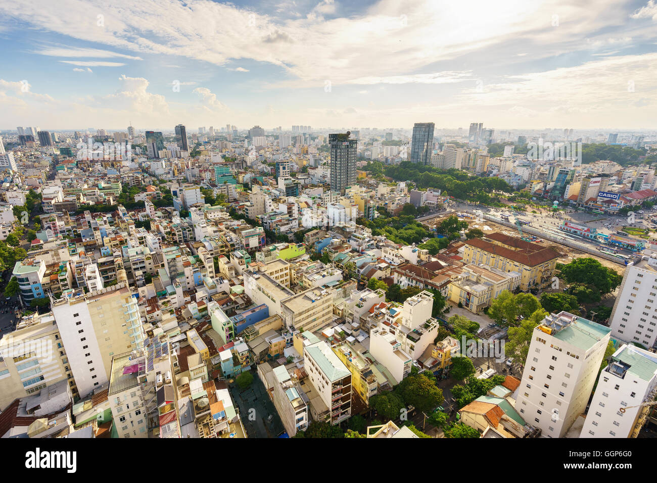Ho Chi Minh city (or Saigon) skyline with colorful house in sunset, Vietnam. Stock Photo