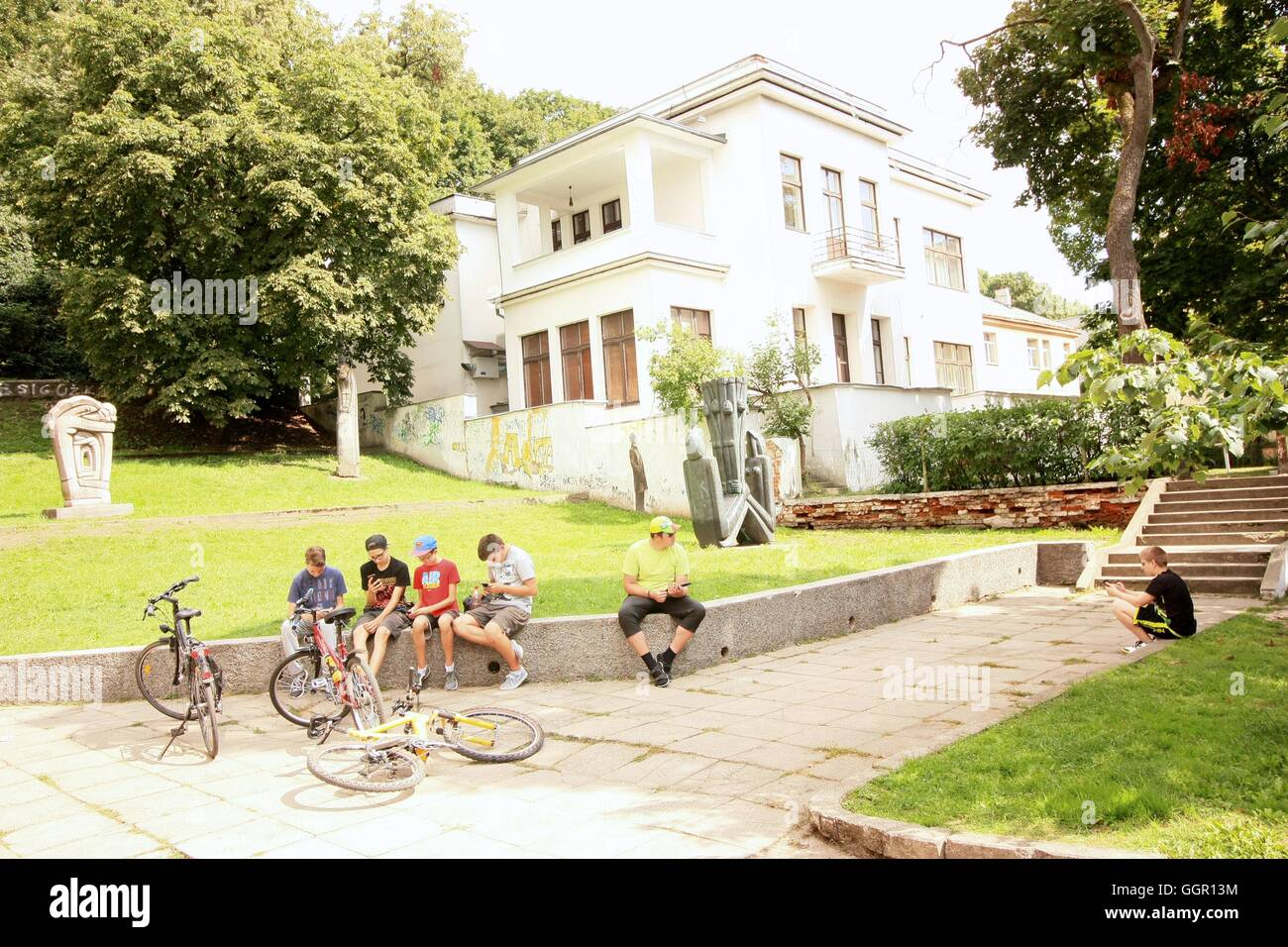 Meeting of unidentified enthusiasts of augmented reality game Pokemon Go in Kaunas Artists' House park - Stock Image