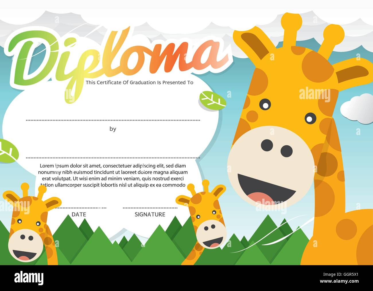 Kids Diploma Certificate Template Vector Illustration