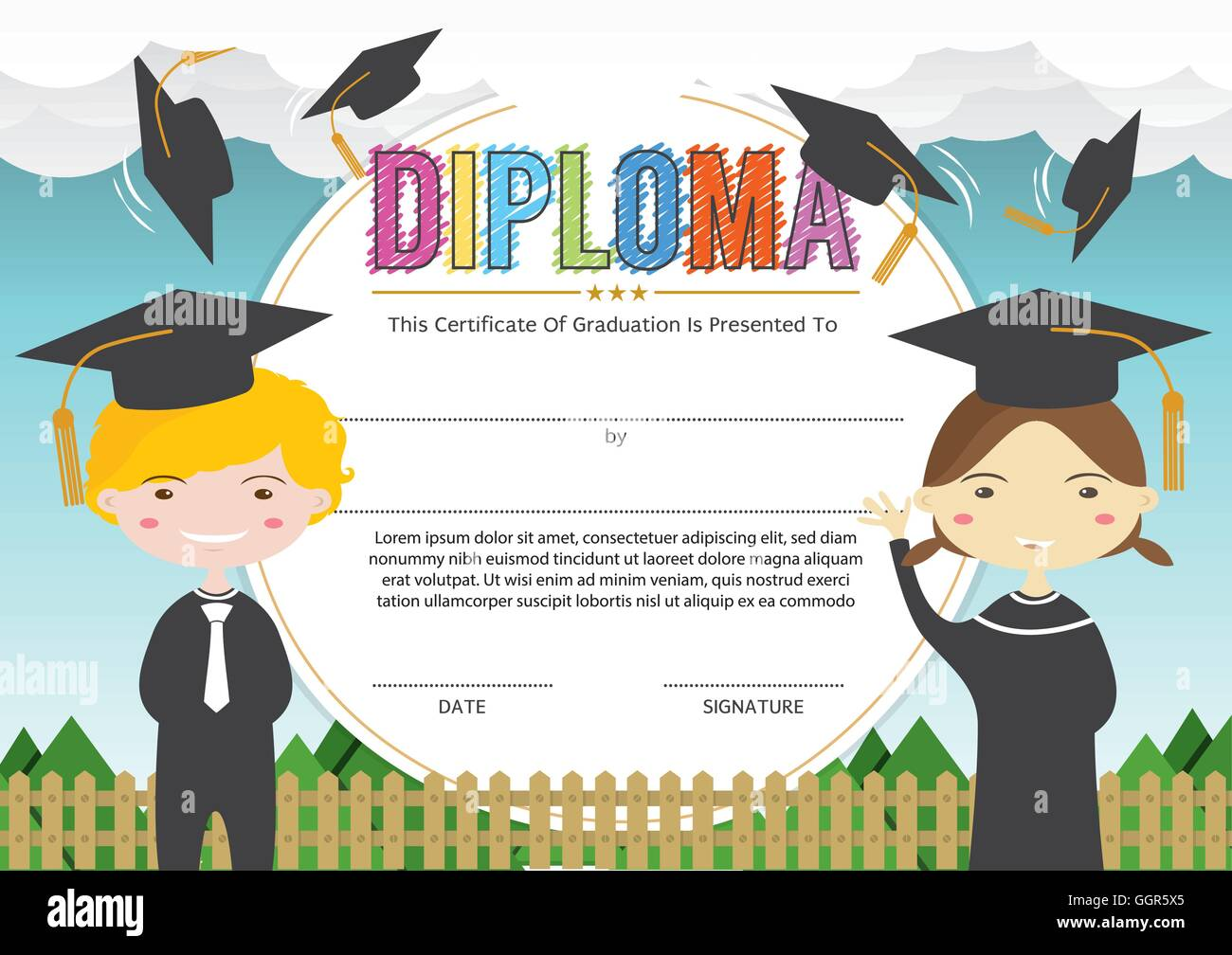preschool elementary school kids diploma certificate background design template vector illustration