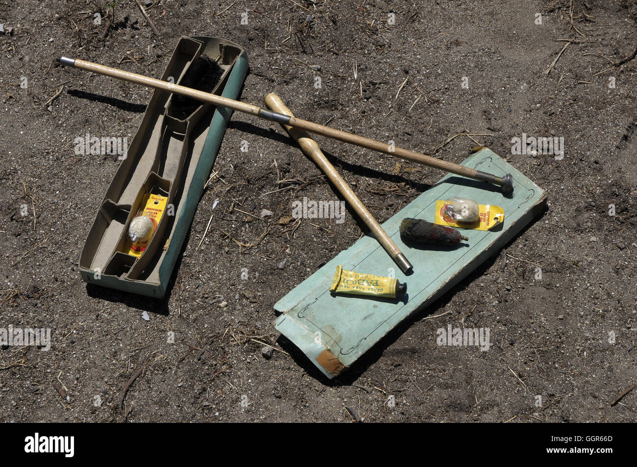 Weapon and gun cleanning maintenance kit - Stock Image