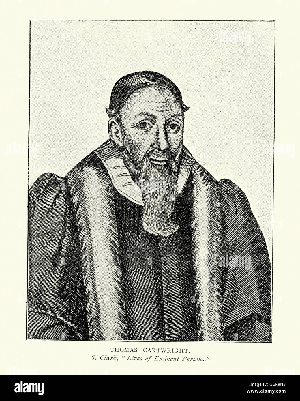 Portrait of Thomas Cartwright 1535 to 1603 was an English Puritan churchman - Stock Image