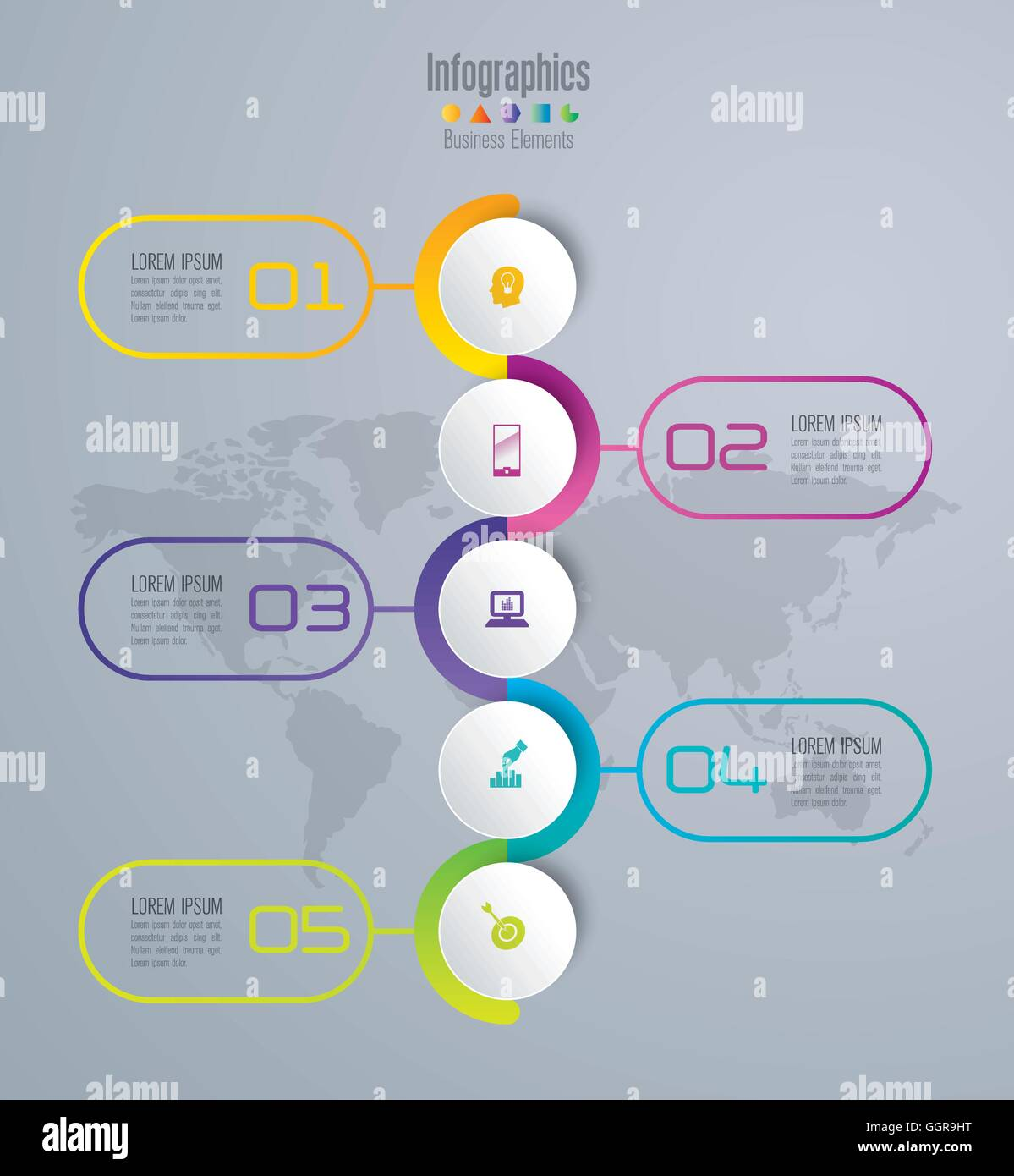 Infographics template vector illustration and business icons. - Stock Image