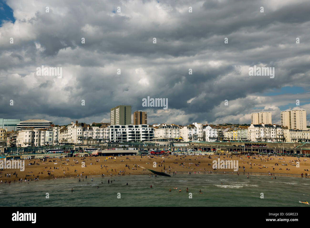 Thick clouds over Brighton beach, English summer! - Stock Image