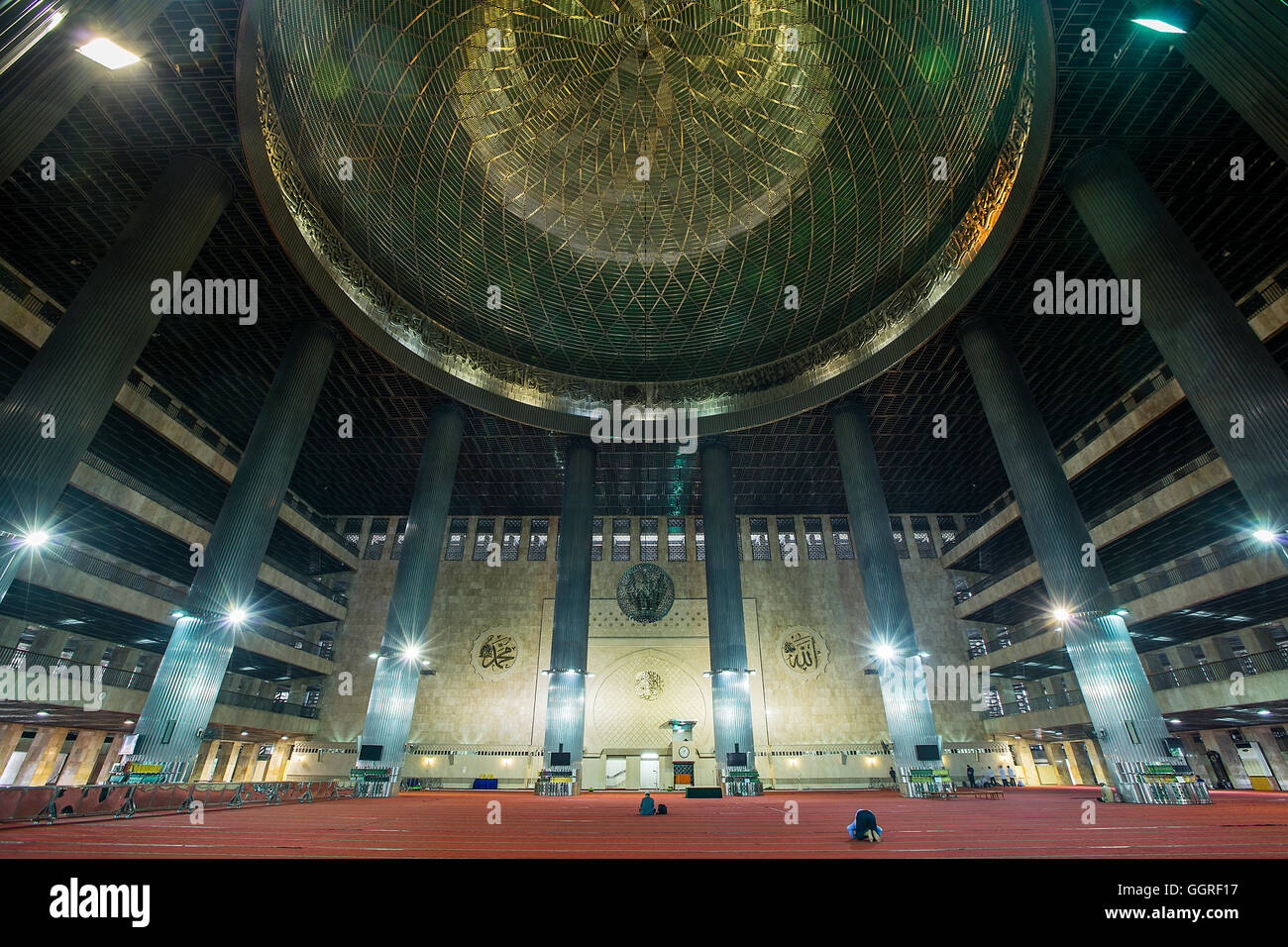 Interior Of Istiqlal Mosque Or Masjid Istiqlal Independence Stock