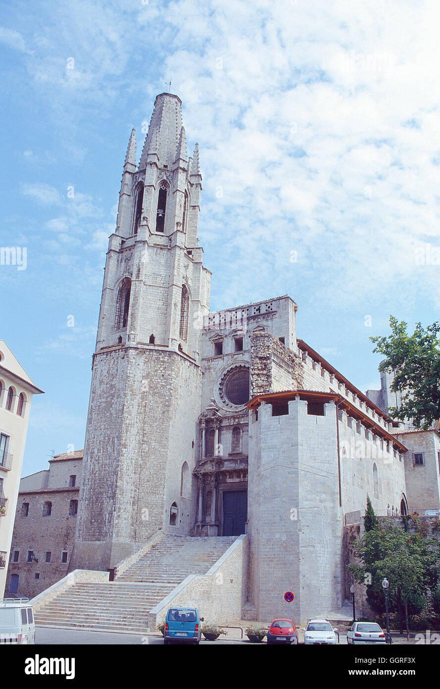Facade of Sant Feliu church. Gerona, Spain. - Stock Image
