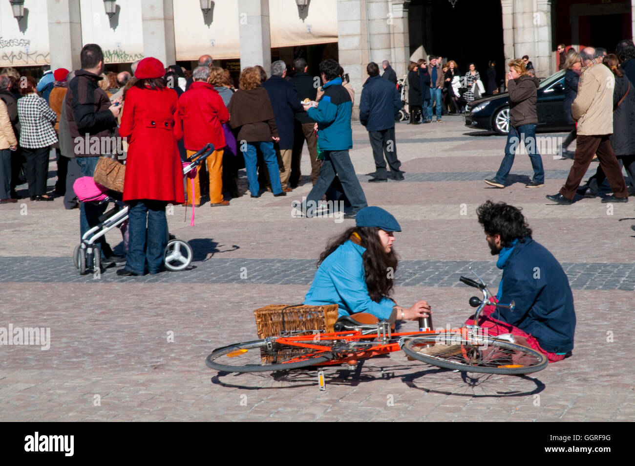 People at Main Square. Madrid, Spain. Stock Photo