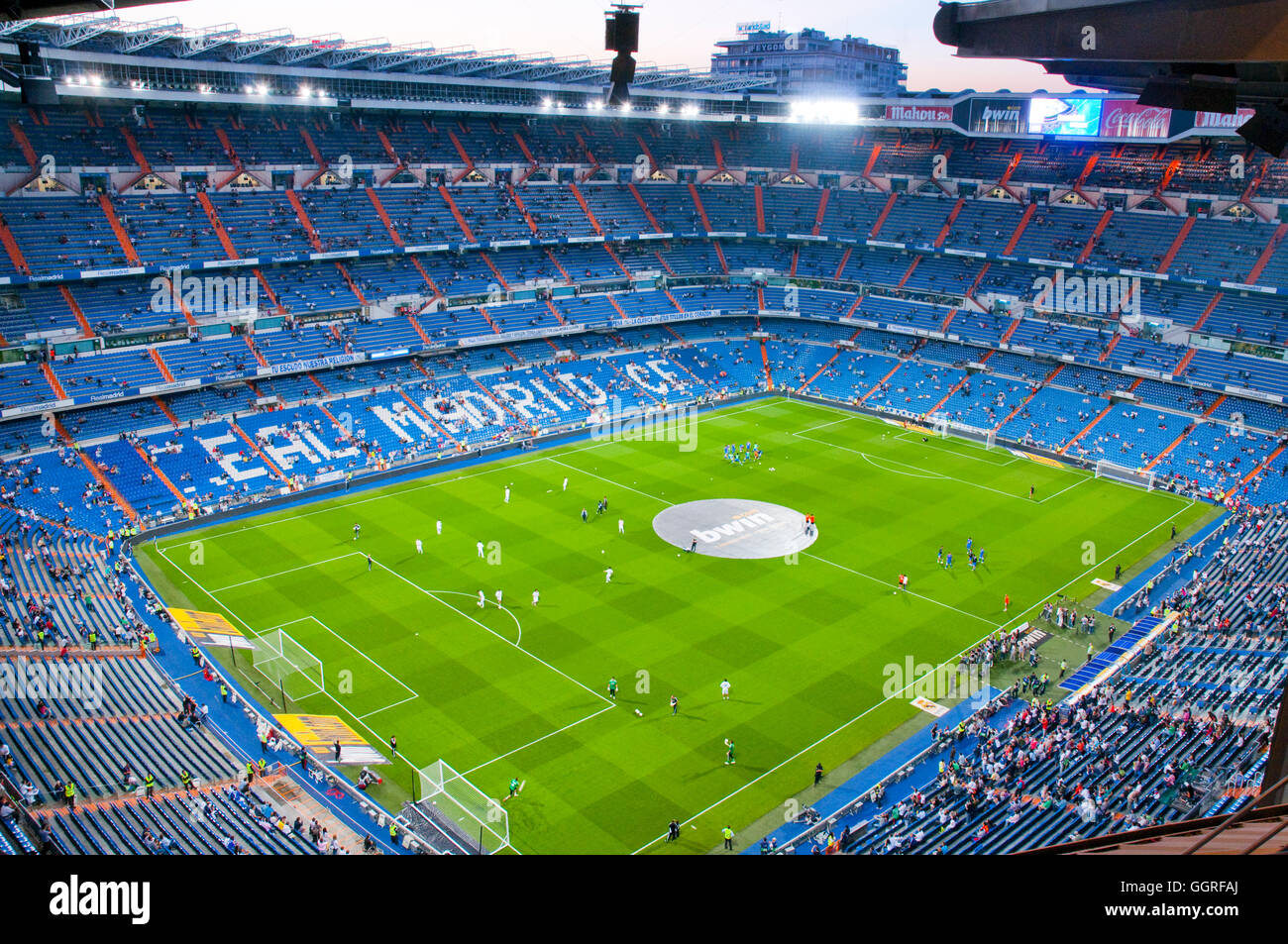 Players warming up before the match. Santiago Bernabeu stadium, Madrid, Spain. - Stock Image