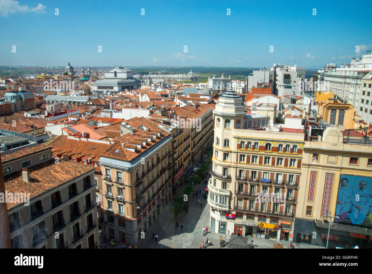 Overview. Callao Square, Madrid, Spain. - Stock Image