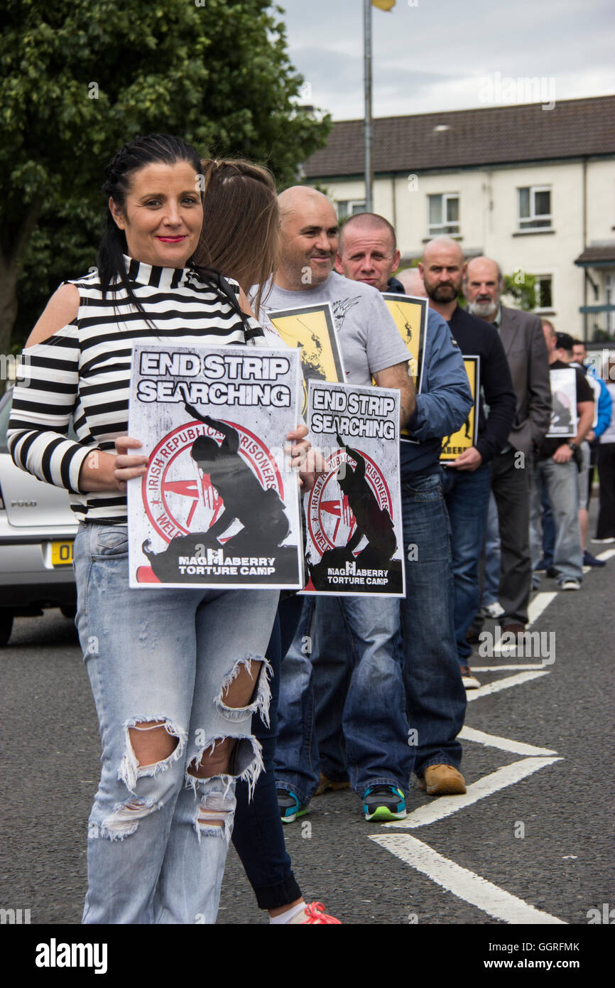 White line protest Derry against strip searching. - Stock Image