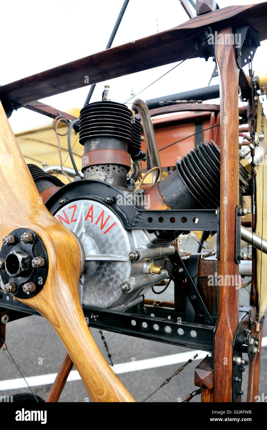 Reproduction of the Bleriot XI presentation on the airfield of Mende in the French department of Gard. Stock Photo