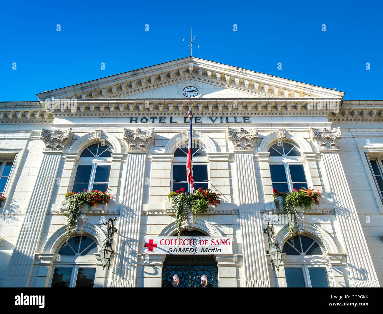 Preuilly-sur-Claise town hall - France. - Stock Image