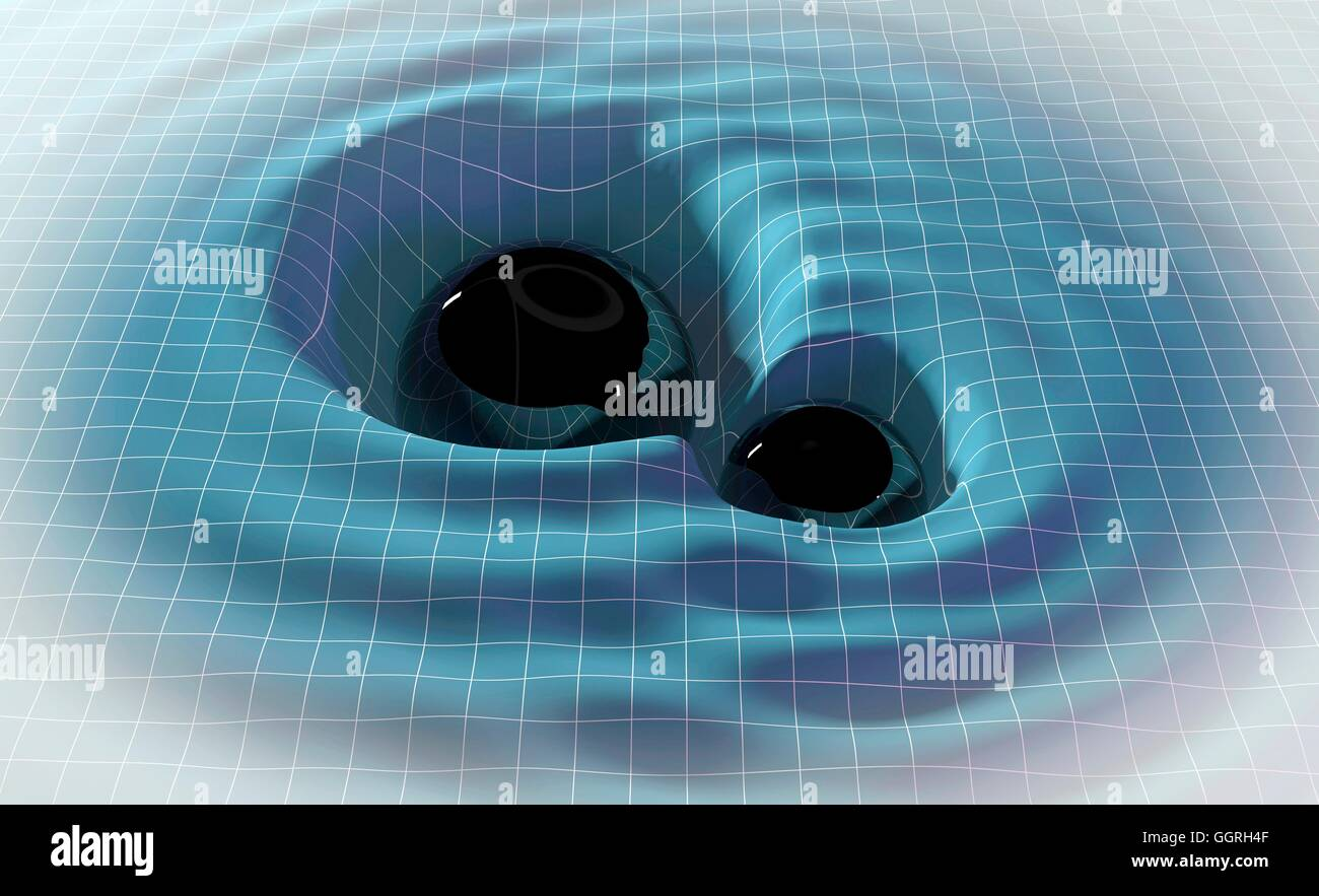 Illustration two black holes orbiting other, emitting gravitational waves. Gravitational waves prediction Einstein's - Stock Image