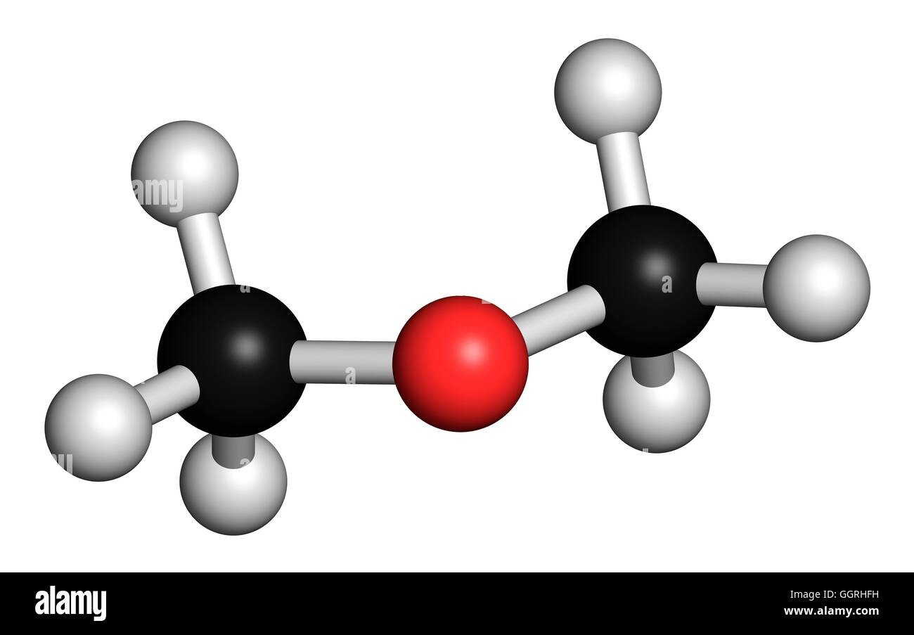 Dimethyl ether (methoxymethane, DME), molecular model. Atoms are represented as spheres with conventional colour - Stock Image