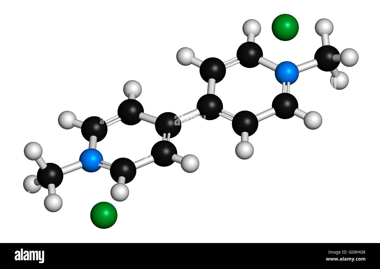 Paraquat herbicide molecule 3D rendering. Atoms are represented as spheres with conventional colour coding: hydrogen - Stock Image