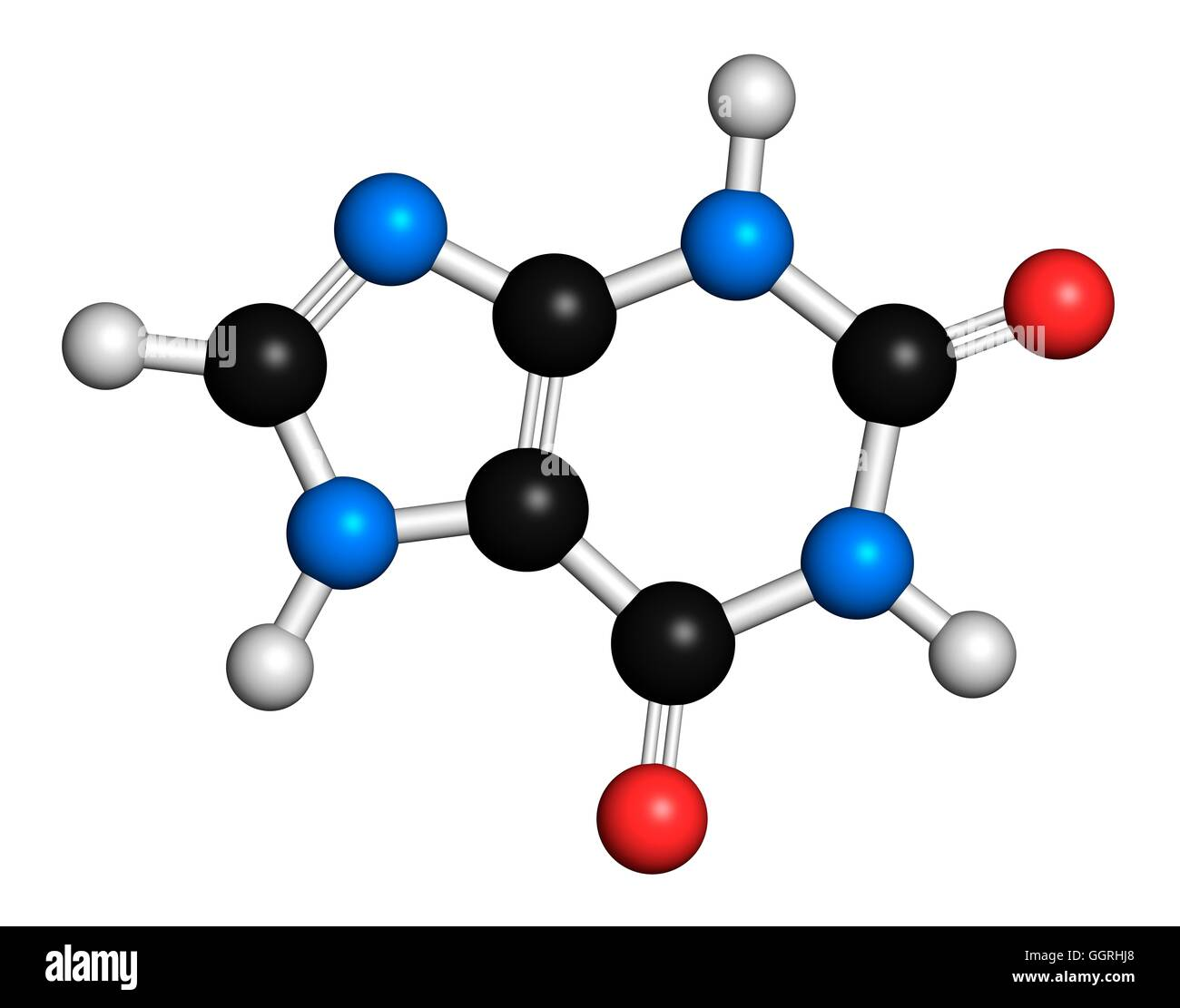 Xanthine purine base, molecular model. Atoms are represented as spheres with conventional colour coding: hydrogen - Stock Image