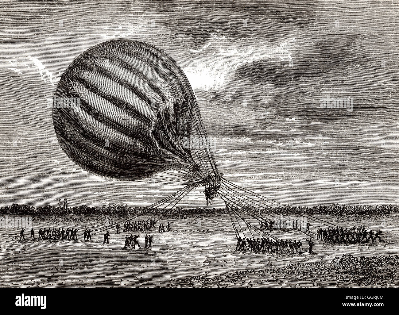 Unguided balloon mail transport during the Siege of Paris 1870-1871 - Stock Image