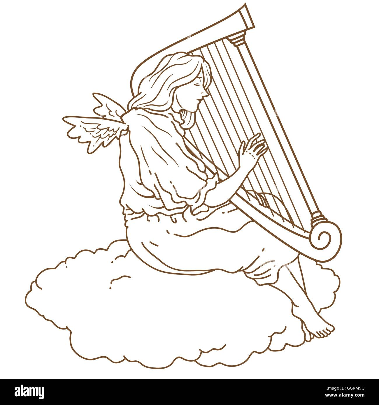Angel playing harp - Stock Vector