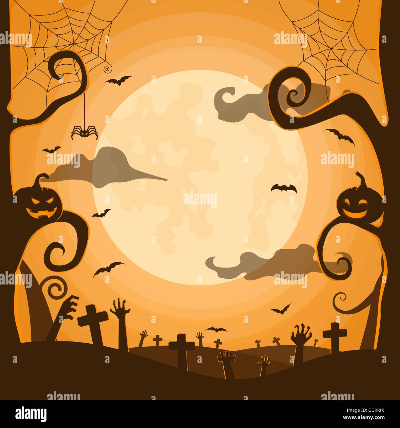 halloween night background in graveyard with pumpkins bats full