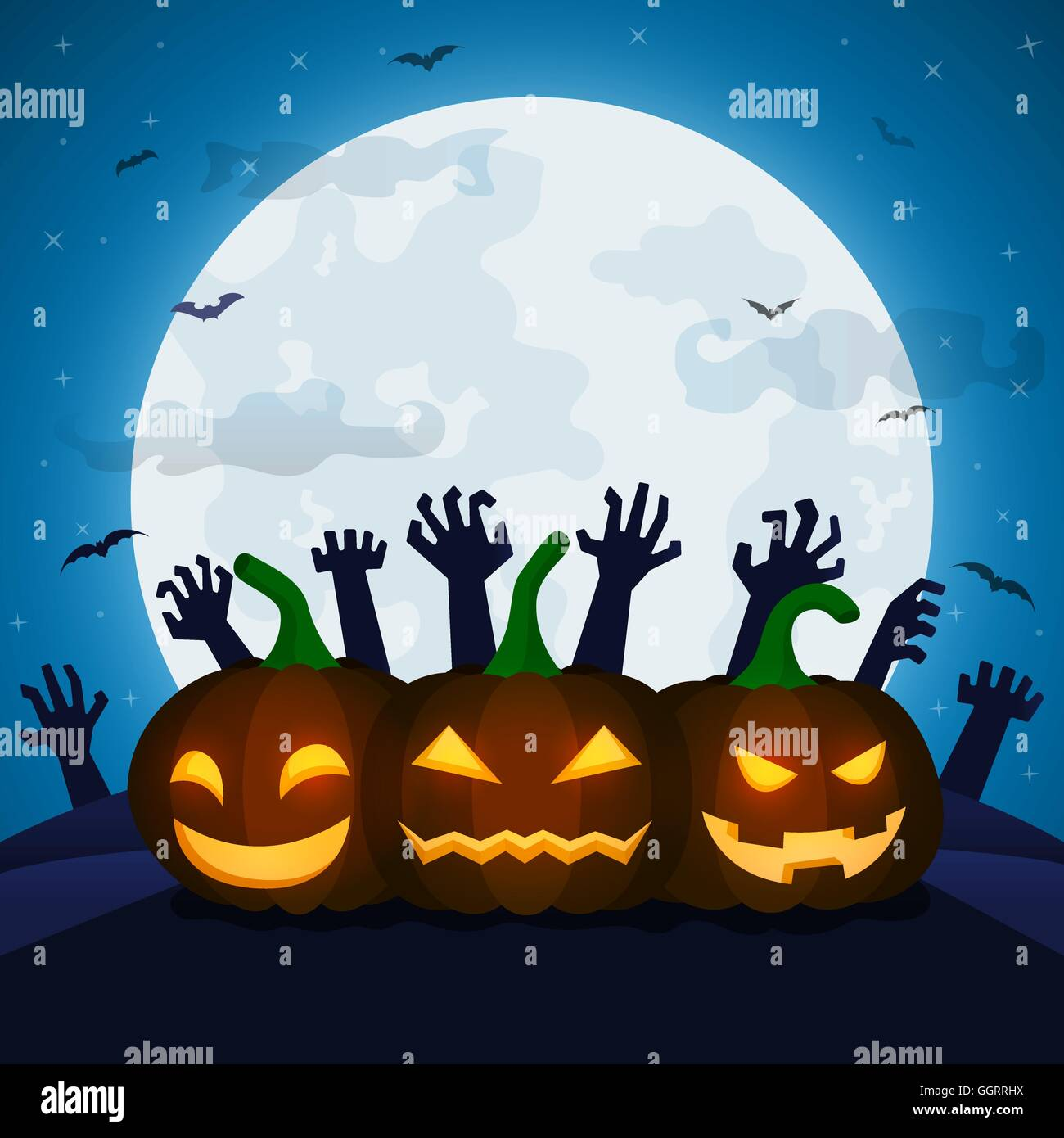 halloween night background with pumpkins bats full moon and space