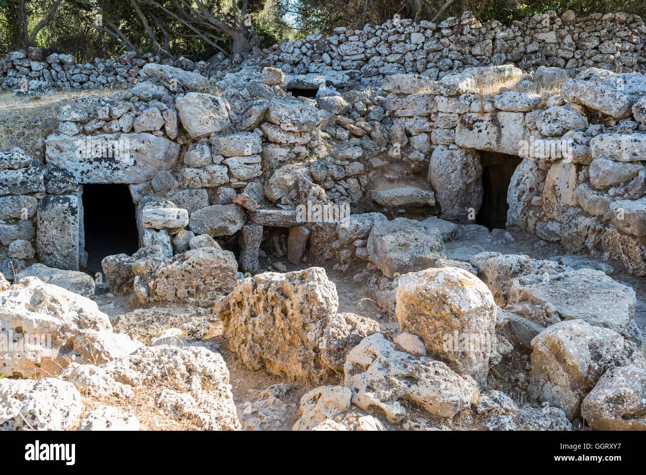 Entrance doors of prehistoric Minorcan houses - Stock Image