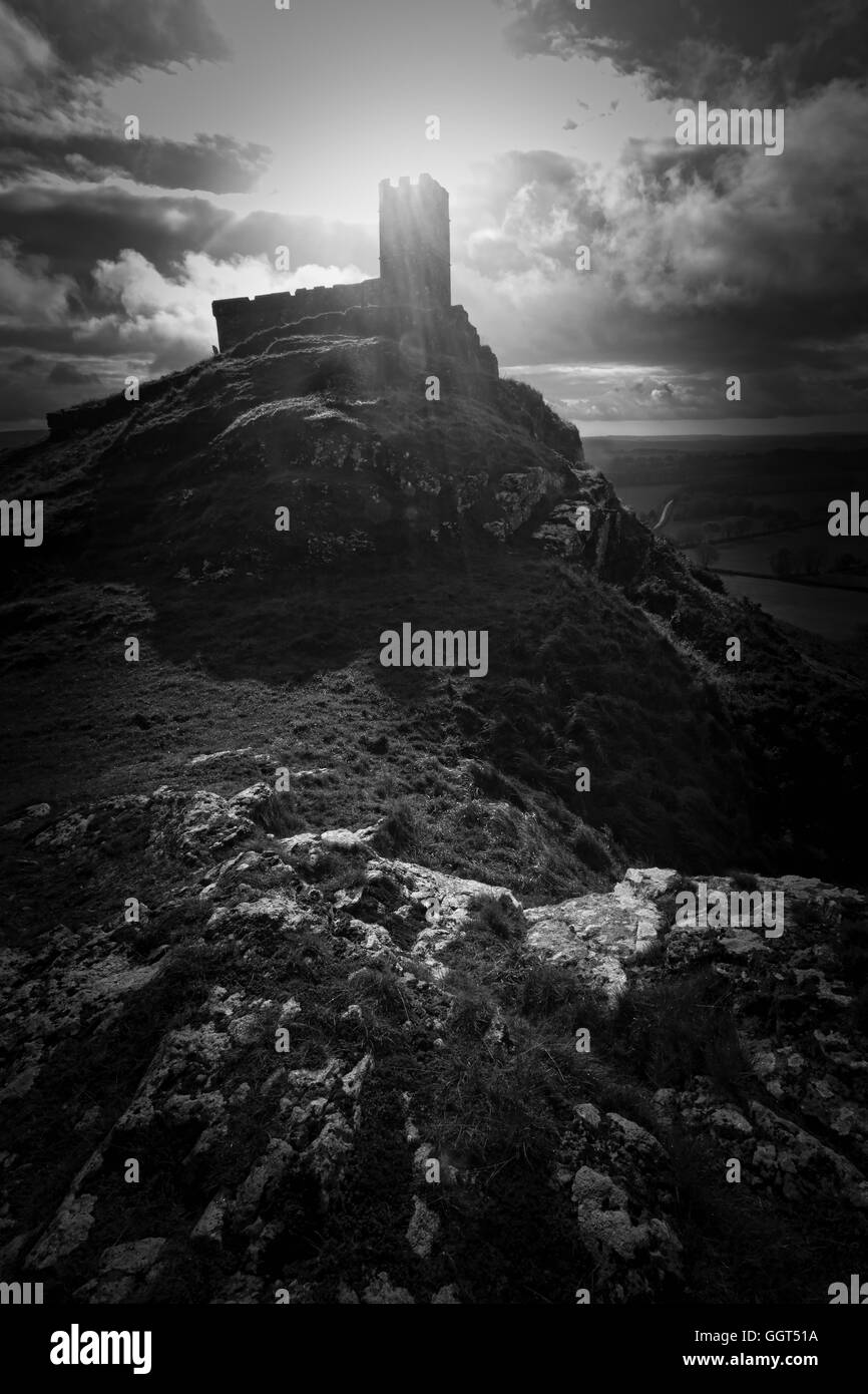 Brentor church perched on a rocky hilltop on Dartmoor National Park in devon - Stock Image