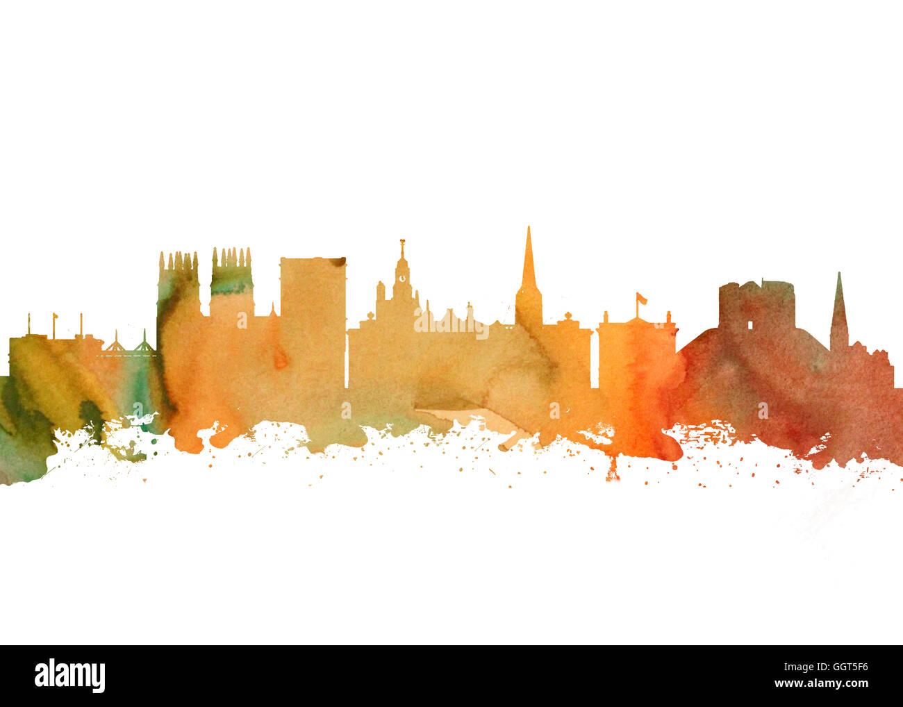 Watercolor art print of the Skyline of  York England - Stock Image