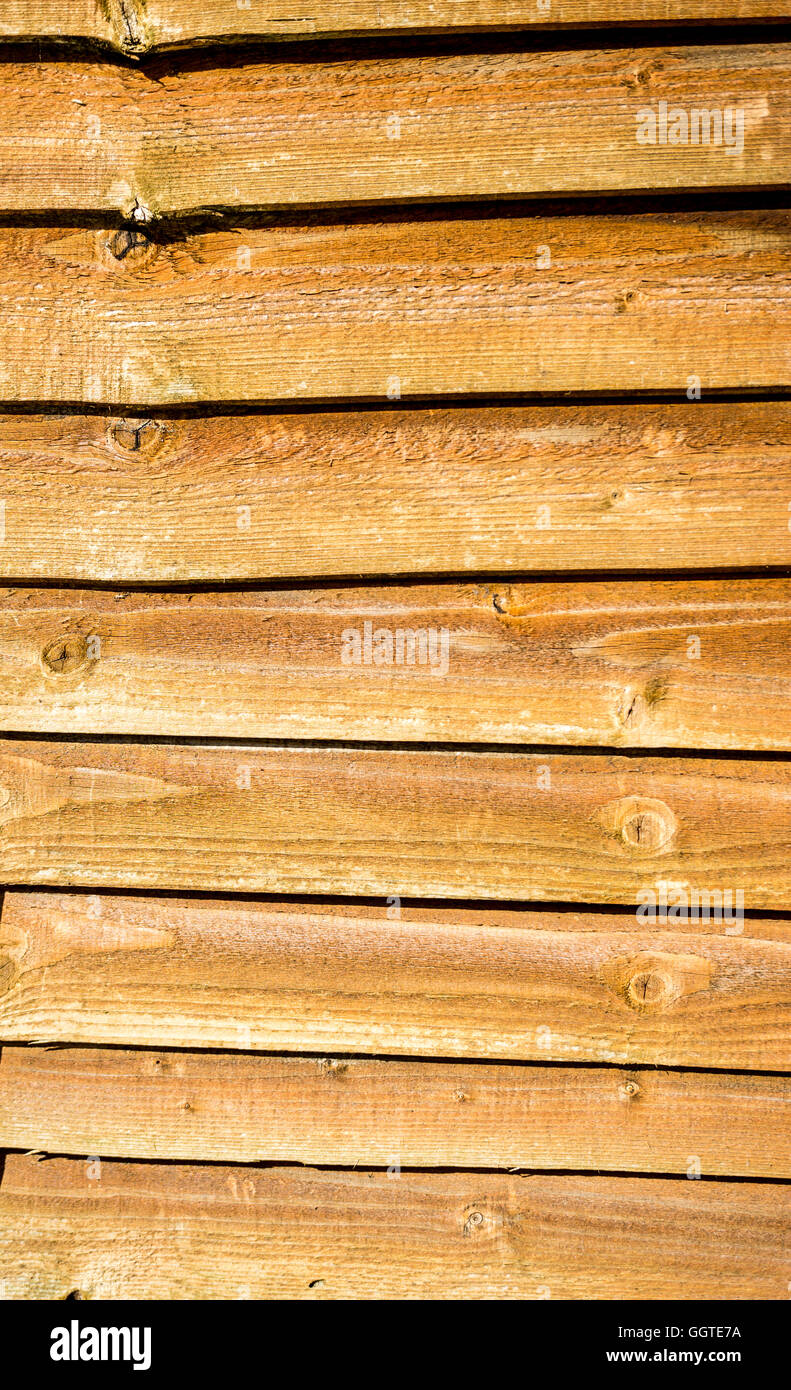 lap, or overlap, wooden fencing panel - Stock Image