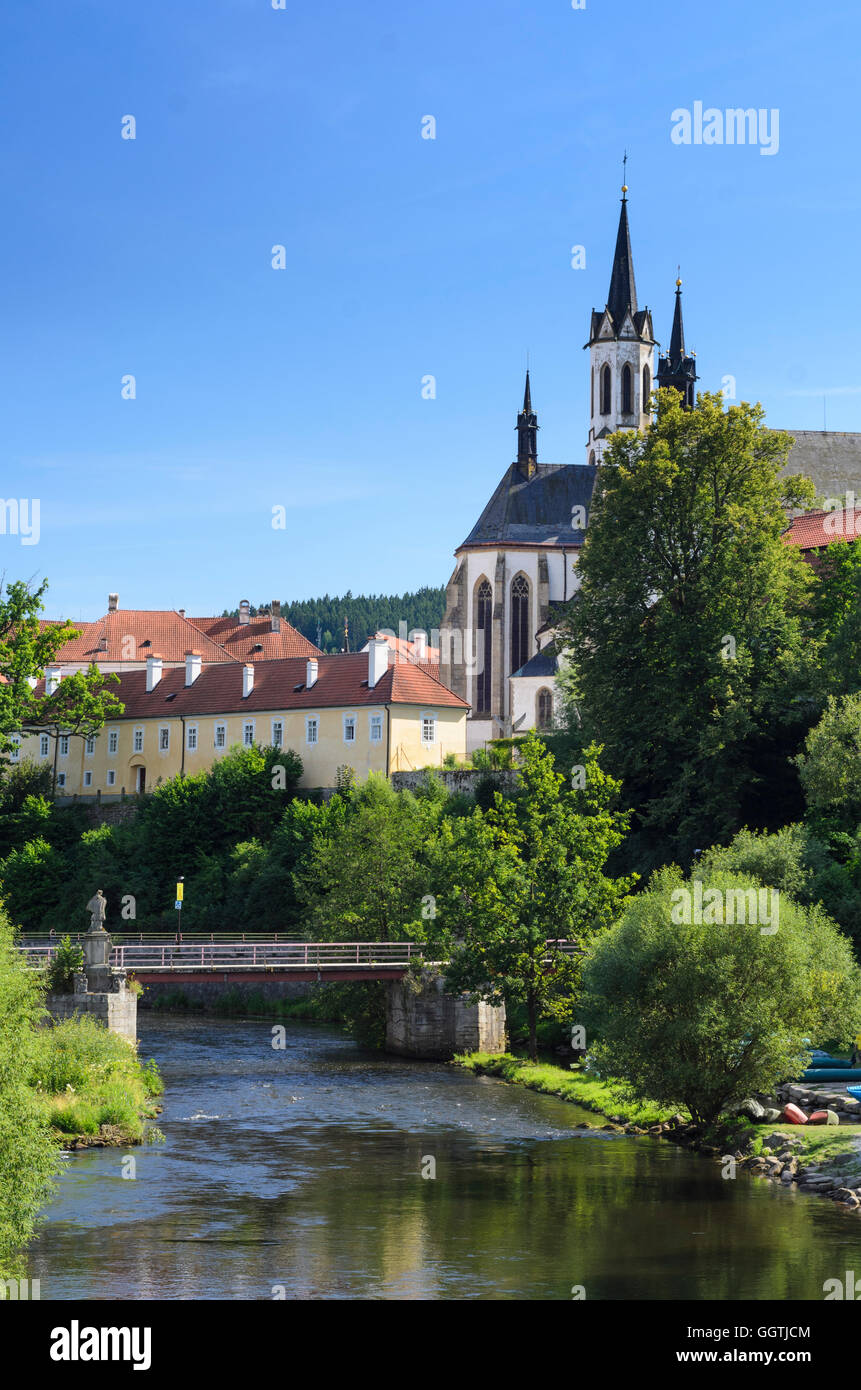 Vyssí Brod (Hohenfurth): River Vltava (Moldau), Cistercian monastery, Czech, Jihocesky, Südböhmen, - Stock Image