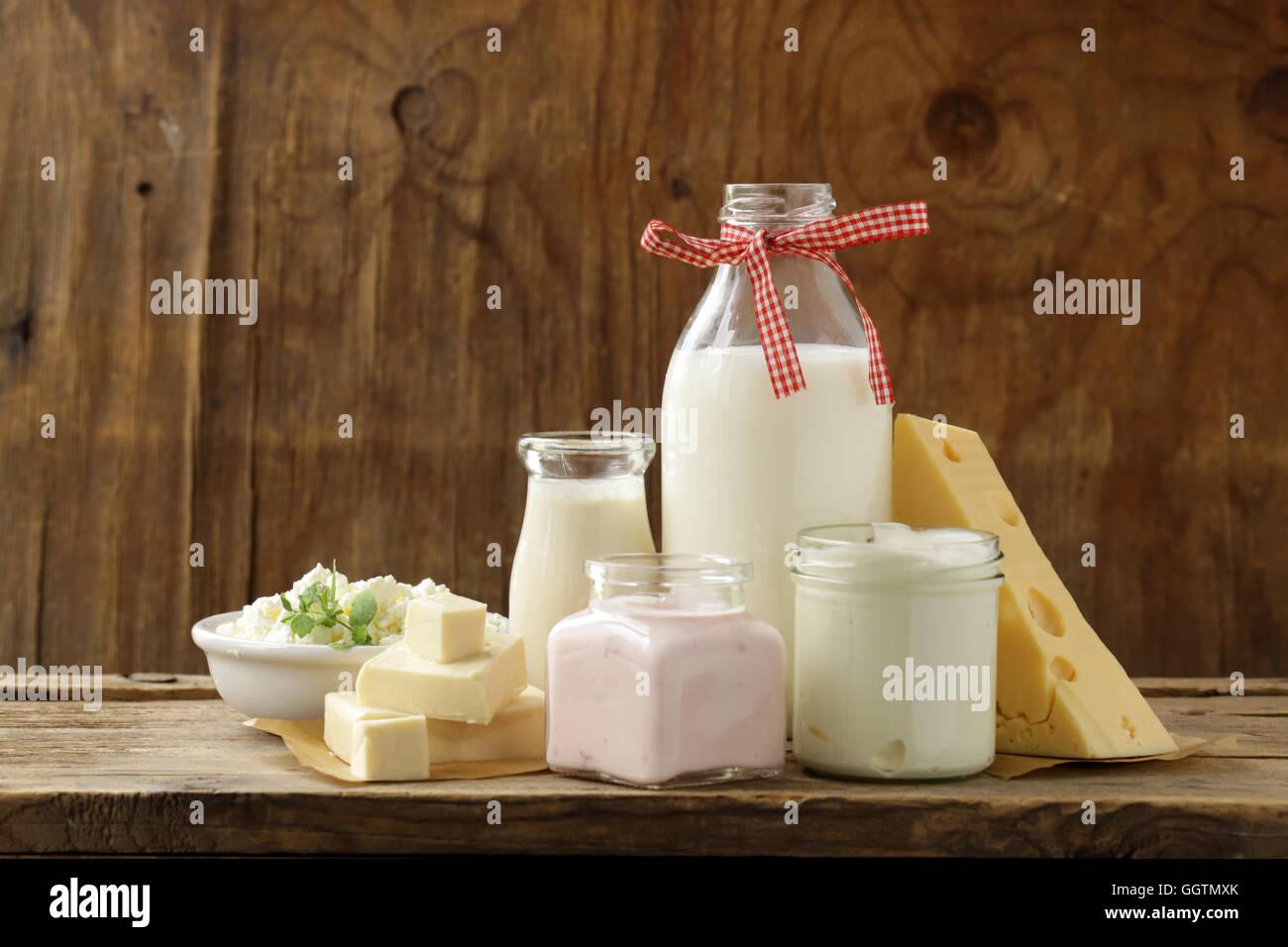 organic dairy products - milk, sour cream, cottage cheese, yogurt - Stock Image