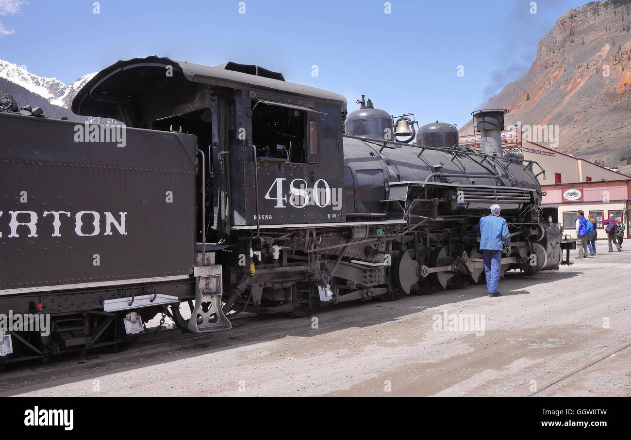 Durango and Silverton Narrow Gauge Steam Railway stopped at the Town of Silverton in the San Juan area in the Colorado - Stock Image