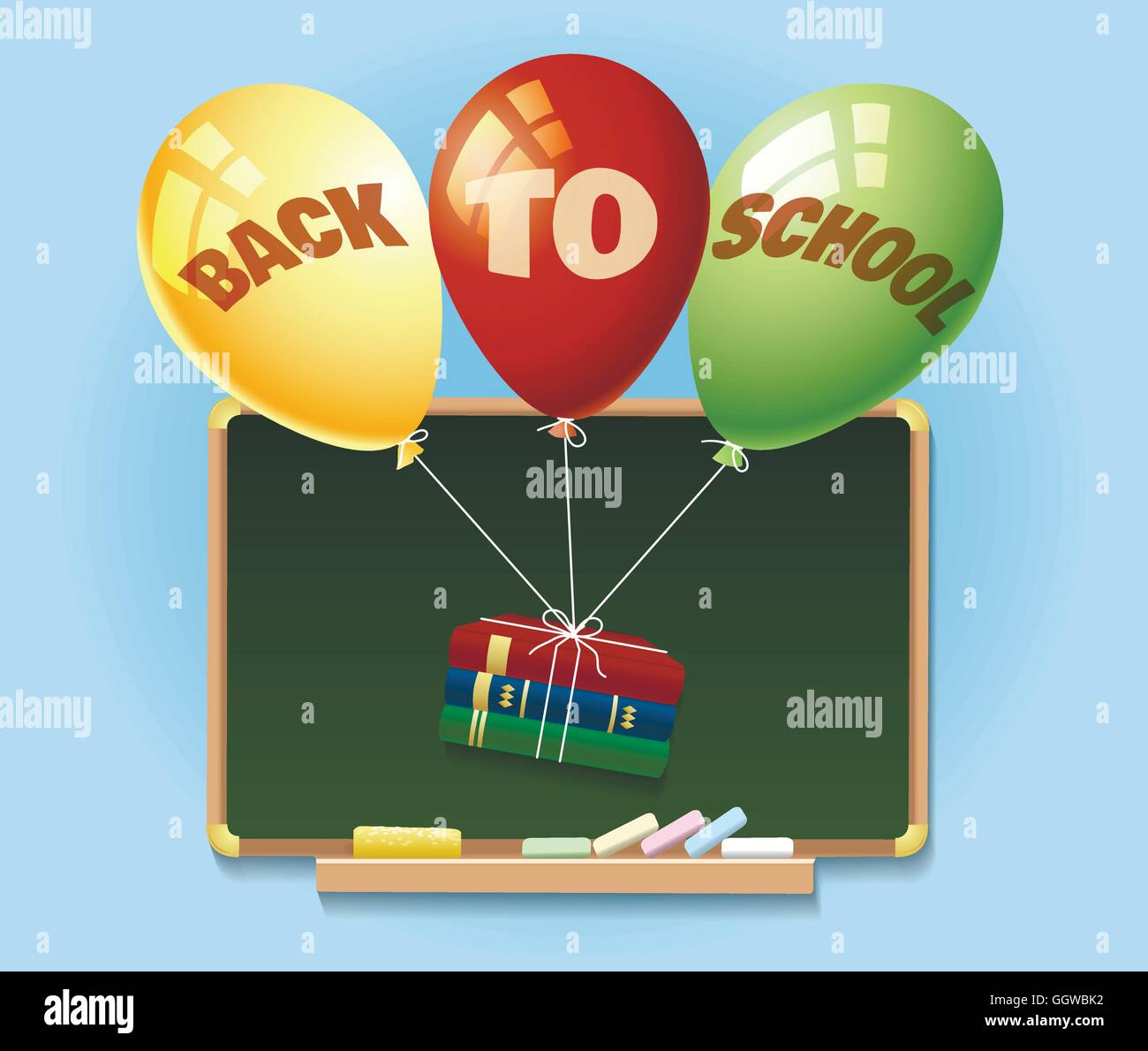 Back to school illustration with chalkboard and balloons with books. - Stock Image