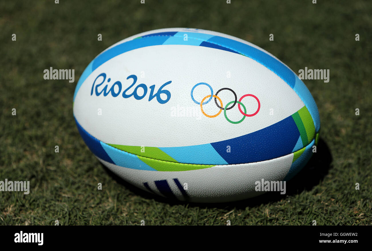 General view of an Olympic rugby ball at the Deodoro Stadium on the first  day of the Rio Olympics Games d675186639fa
