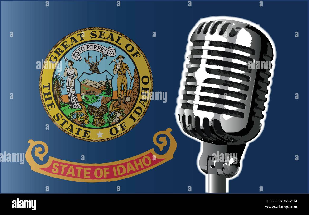 The state of Idaho flag with a traditional style microphone - Stock Vector