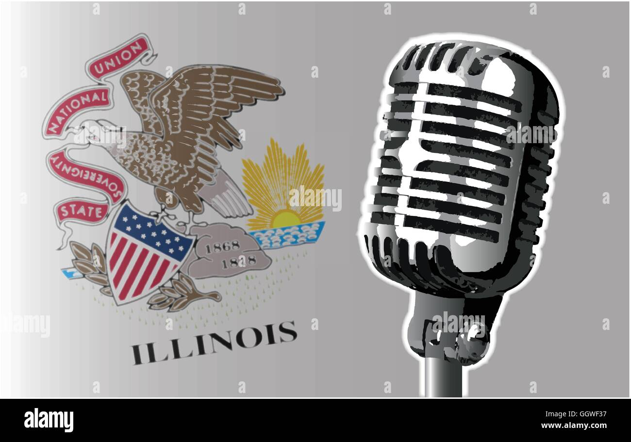 The state of Illinois flag with a traditional style microphone - Stock Vector