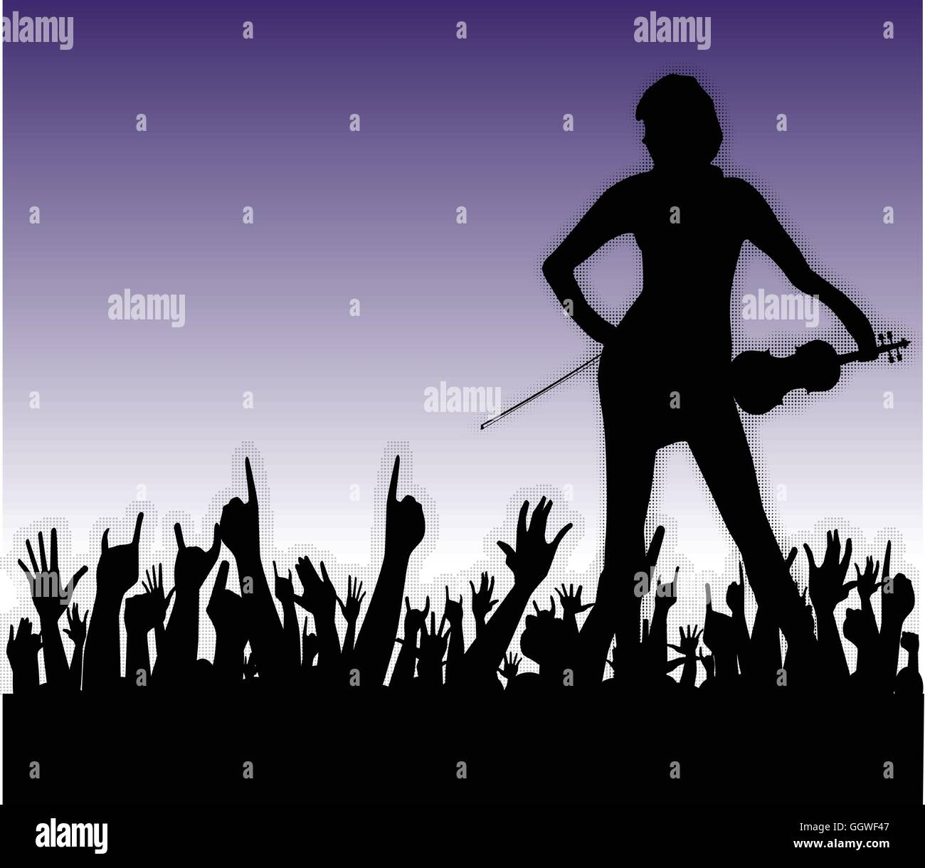 Hands raised in the air at a concert to a female fiddle player - Stock Vector