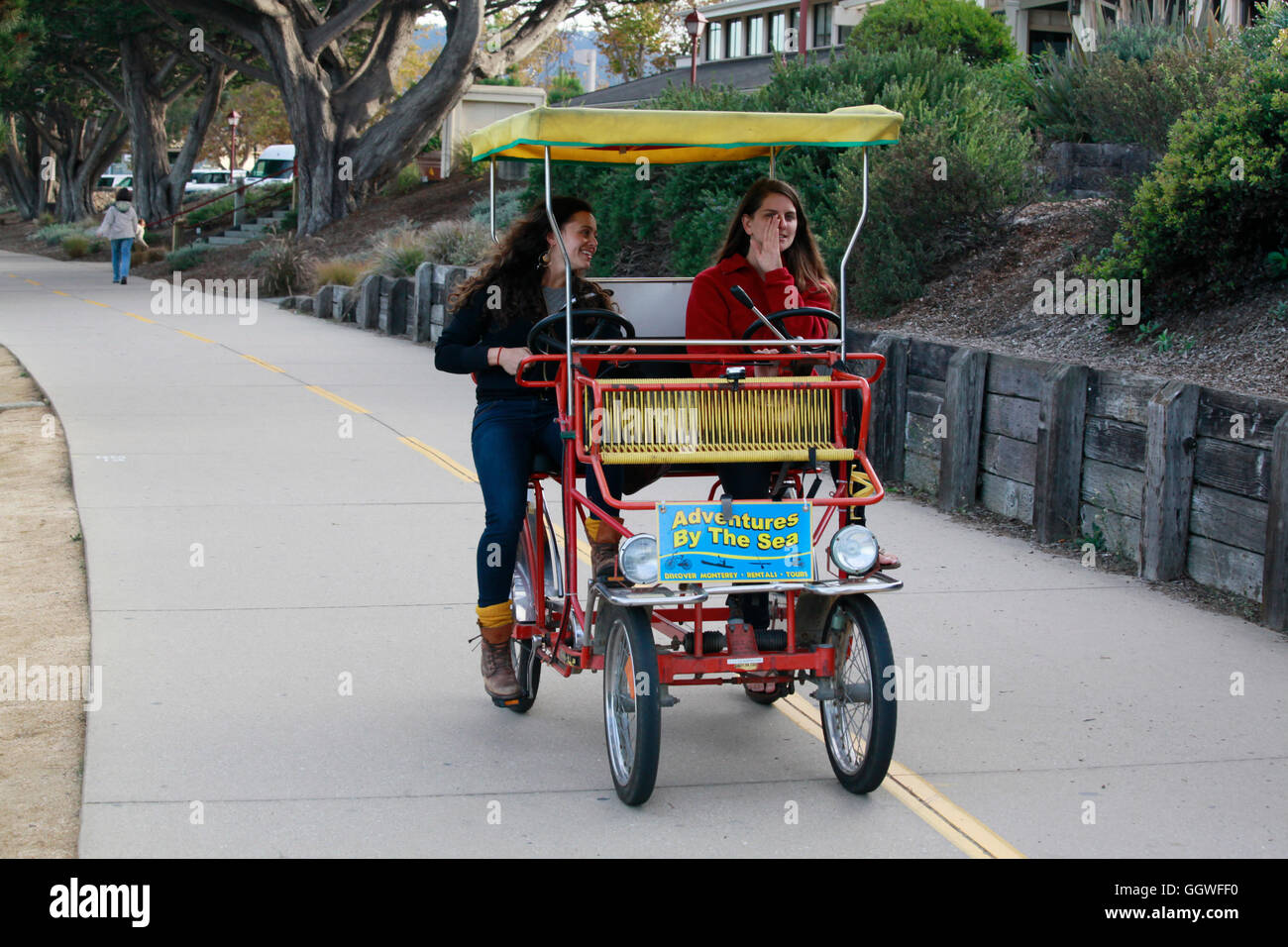 Bicycles for two are rented from ADVENTURES BY THE SEA and uses on the bike path - MONTEREY, CALIFORNIA - Stock Image