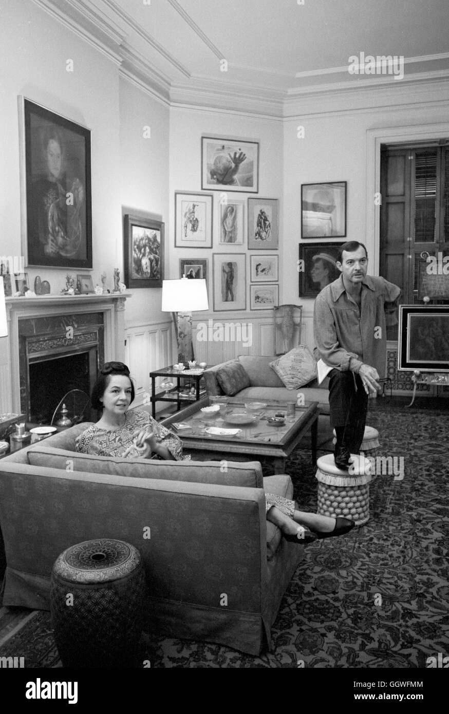 Actors Zachary Scott and Ruth Ford in their apartment in the Dakota Apartment building, 1963. - Stock Image