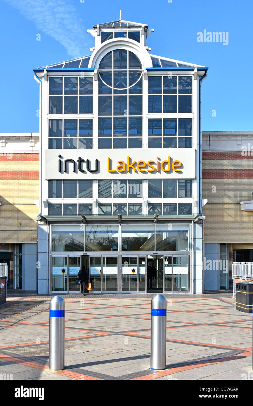 Exterior Intu Properties plc one of many shopping mall entrances at Thurrock Lakeside indoor shopping centre in - Stock Image