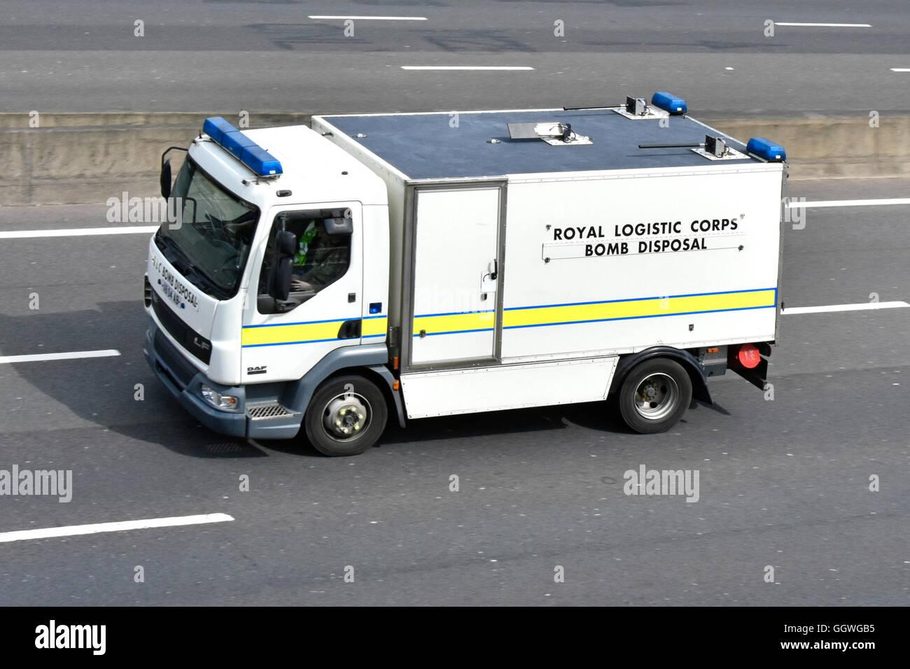 British Army Royal Logistic Corps Bomb Disposal lorry on Uk motorway England - Stock Image