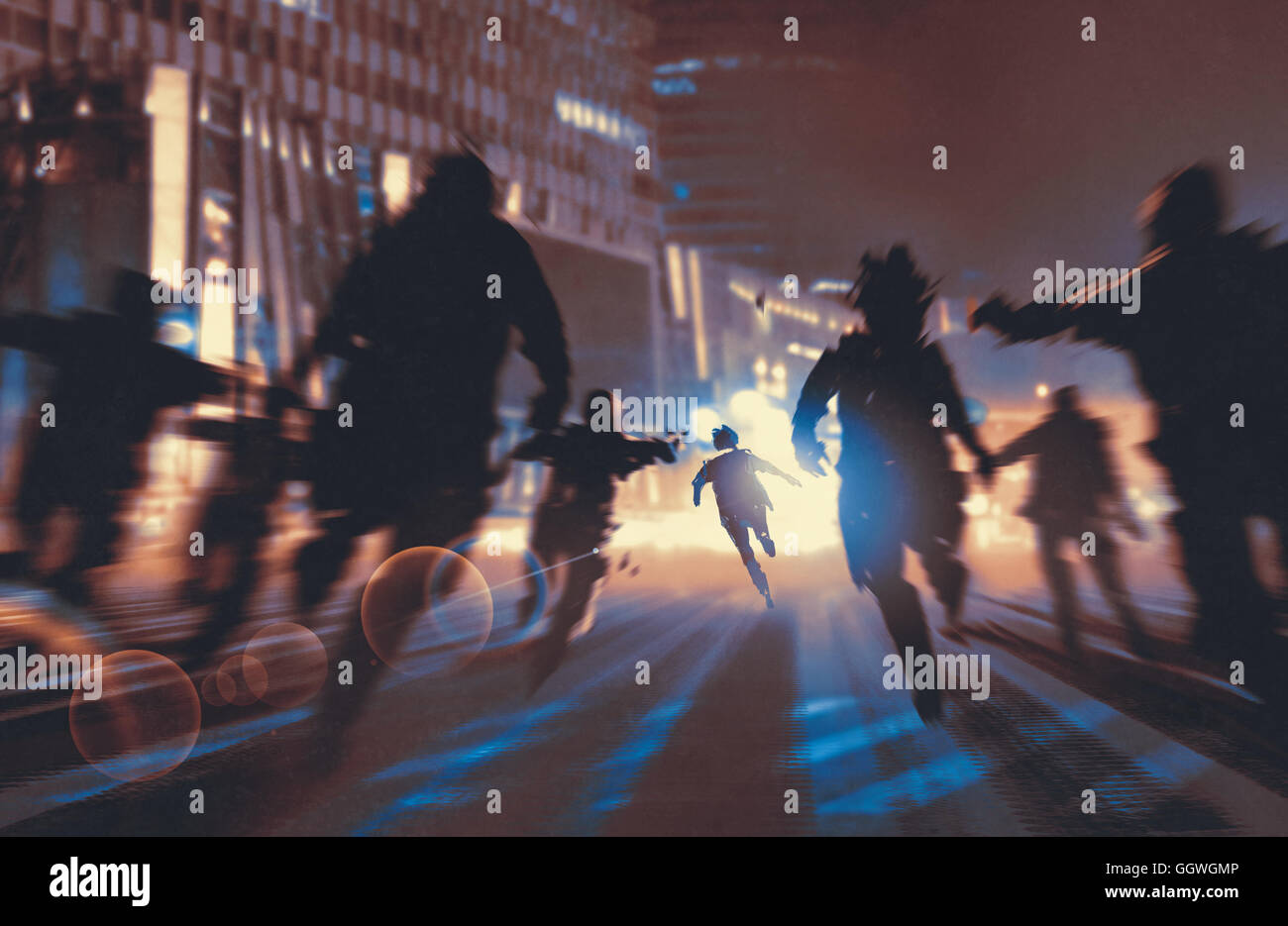 man running away from zombies in night city,illustration,digital painting - Stock Image