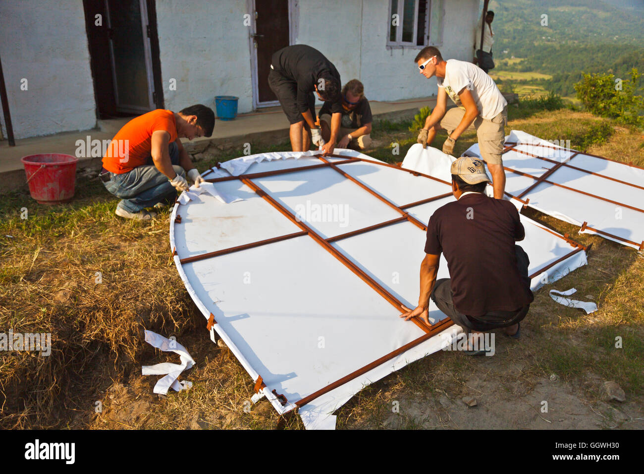 A permanant structure is being set up by their grant recipient Health and Development Society Nepal or HDSN to be - Stock Image