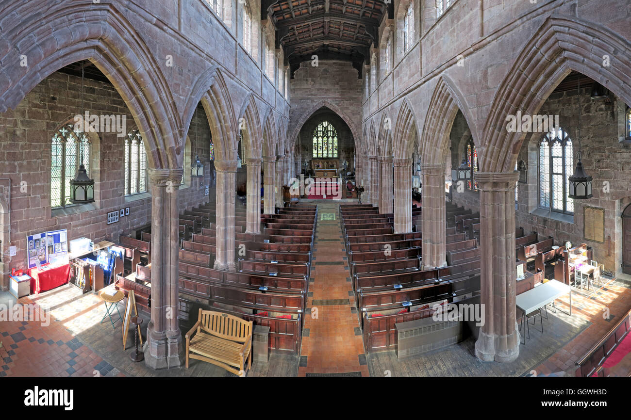 View down to altar,St Mary and All Saints' Church, Great Budworth, Northwich, Cheshire, North West England, - Stock Image