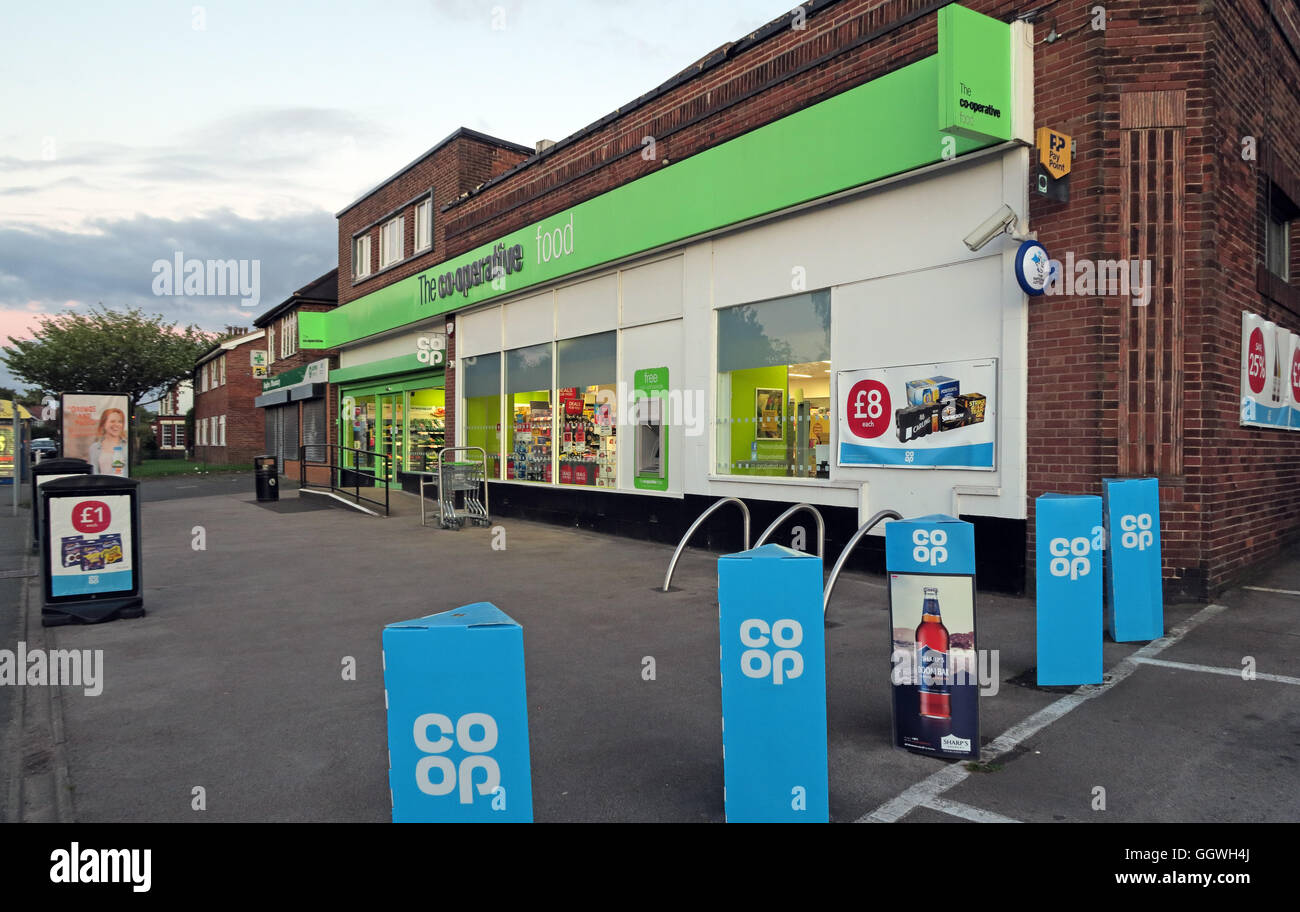 Local Co-op convenience store, with mixed blue and green branding, evening, Knutsford Road, Grappenhall, Warrington,Cheshire, - Stock Image